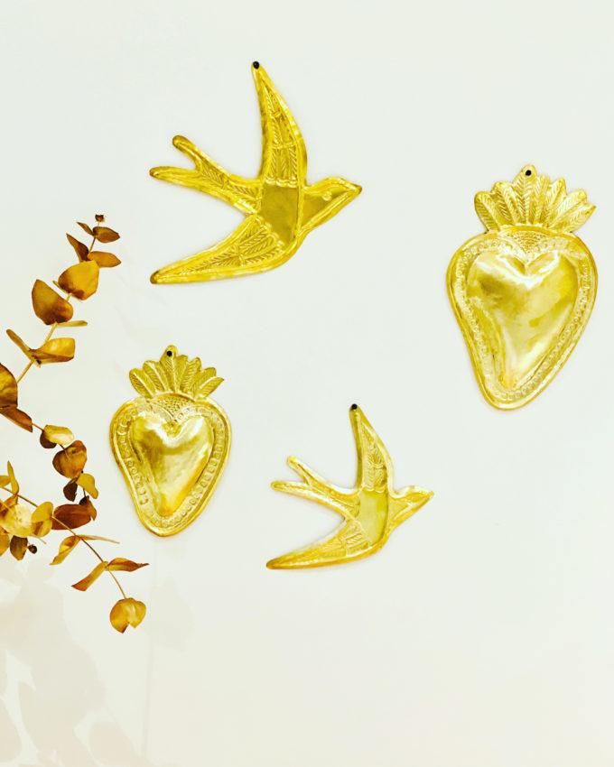 hirondelle étoile coeur colombe en laiton gravée au Maroc a Marrakech ex-voto Mexique sacrée a la main dorée Ma jungle Family