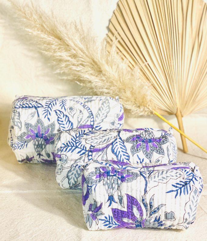 trousse de toilette en coton indien imprime blockprint fleuri Jaipur Ma Jungle Family