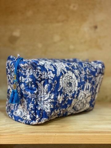trousse de toilette en coton indien imprime blockprint fleuri abricot jaune safran Jaipur Ma Jungle Family