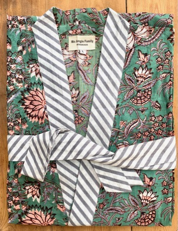 kimono celadon fleuri dahlia vert émeraude coton blockprint Inde Ma Jungle Family