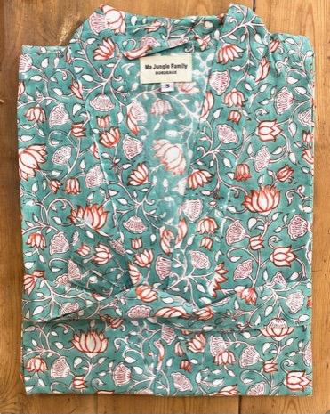 kimono celadon fleuri nénuphar coton blockprint Inde Ma Jungle Family