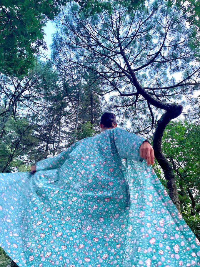 kimono celadon fleuri nénuphar coton hibiscus blockprint Inde Ma Jungle Family