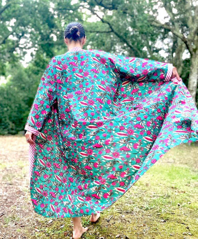 kimono celadon fleuri nénuphar vert émeraude fuschia coton blockprint Inde Ma Jungle Family